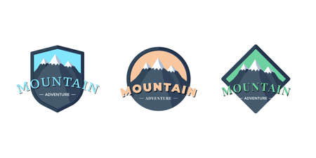 Mountain Adventure shield badge for extreme tourism and sport hiking. Outdoor nature rock camping square and circle label set