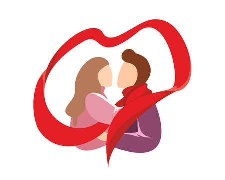 Romantic tender hugging young couple in love passion boyfriend and girlfriend. Man in red scarf embracing woman. Sweetheart male and female lovers kissing. Family happy relationship illustration Illusztráció