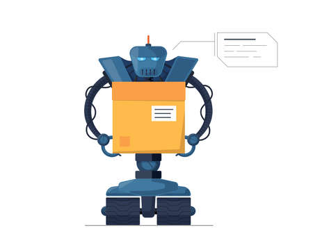 Robot courier carries parcel box future technology. Robotic delivery modern service concept. Automated AI droid logistic vector flat isolated illustration Illusztráció