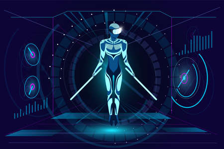 Virtual reality gaming in headset concept. Man with neon swords wearing VR glasses helmet and soar on HUD style abstract digital background. Futuristic technology vector illustration