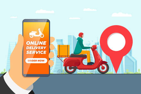 Safe contactless delivery service app concept. Boy courier in motorbike helmet on scooter moped delivering package box. Online ordering mobile application on cityscape and location pin illustration