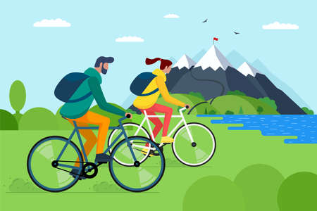 Young couple riding bicycles in mountains. Boy and girl bicyclists with backpacks on bikes travel in nature. Male and female cyclists active recreation on hill lake and forest vector eps illustration