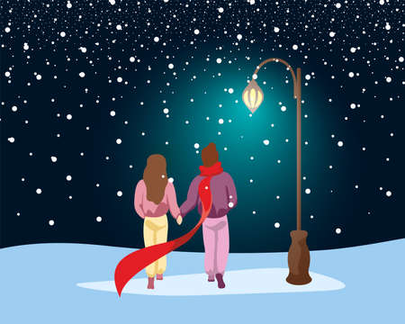 Couple in love walking in park under snow along path lit by street lantern. Male and female winter outdoors romantic evening under glowing lamp post. Human relationship concept vector eps illustration