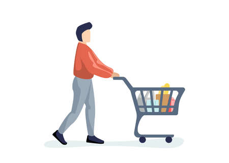 Young man purchaser carrying supermarket shopping cart full of groceries. Male buyer pushing grocery store basket. Customer with products vector eps illustration isolated