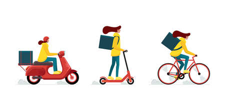 Online fast logistic female on bicycle or electric scooter moped with orders parcel box. Illusztráció