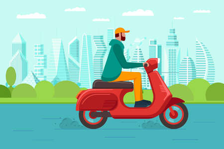 Male riding retro style scooter on modern city park road. Man drives red moped on street. Boy vintage motorcycle driver. Hipster on bike life in motion lifestyle vector eps illustration
