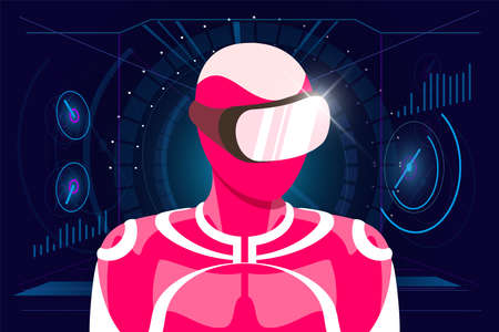 User in pink suit wearing VR glasses helmet on HUD style abstract digital Illusztráció