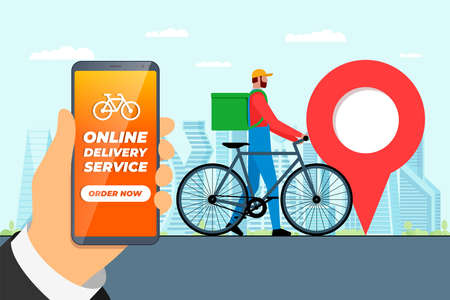 Fast bicycle delivery ordering service app concept. Hand holding smartphone with geotag gps location pin on city street and express shipping courier with backpack. Online application vector eps