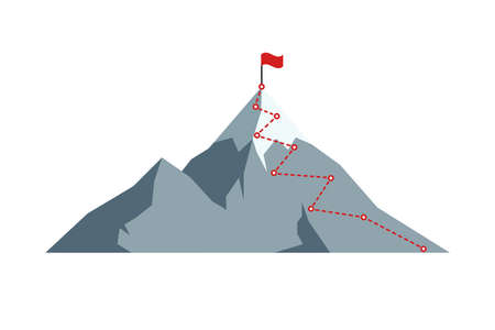 Mountain climbing route to peak with red flag on top rock.