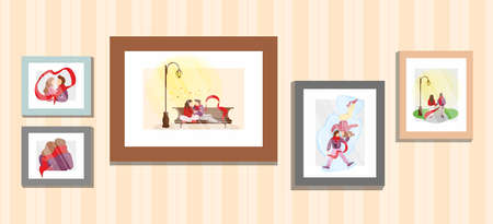 Young couple in love family memories portrait photos frames on wall with wallpaper. Boyfriend and girlfriend relationship moments vector flat illustration