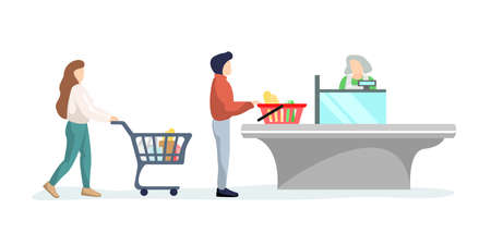 Grocery customers people stand in line at supermarket turn with goods in shopping trolley put buys on cashier desk for paying. Queue in store with purchases flat isolated vector illustration