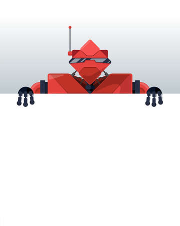Cartoon robot stand behind blank poster space for text. Red cyborg character holding empty white board for presentation. Robotic information banner mockup interface flat design vector eps illustration