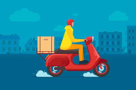Express town delivery service courier on scooter concept. Online fast logistic male on bicycle moped with orders parcel box on cityscape street. Goods or food carrying vector flat illustration