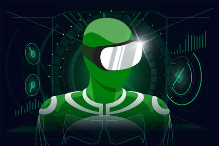 Virtual reality gaming in headset concept. User in green suit wearing VR glasses helmet on HUD style abstract digital background. Futuristic technology vector eps illustration Stock fotó