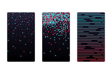 Colored modern red blue elements on black social media application abctract background set. Blogging stream app futuristic digital wallpaper. Smartphone screen backdrop cover vector eps illustration
