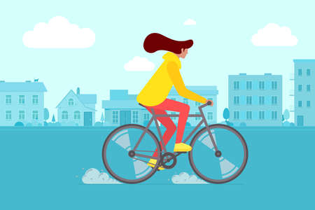 Hipster female riding bike on city street. Young woman cyclist leisure activity in town road. Stylish girl on bicycle flat vector eps illustration