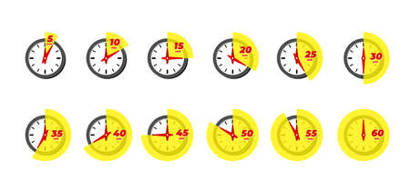 Timer and stopwatch icon set. Kitchen cooking or fast express delivery time labels with different minutes. Sport clock or deadline countdown vector isolated illustation Illusztráció