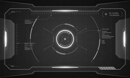 VR HUD digital futuristic interface cyberpunk screen design. Sci-fi virtual reality technology view head up display. Digital technology GUI UI dashboard panel vector black and white illustration