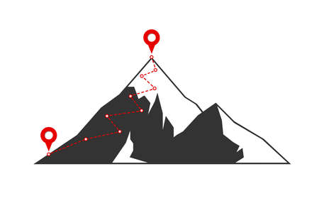 Mountain climbing route to peak with red flag on top rock. Business journey path in progress motivation and success target aspiration concept. Career mission goal direction symbol illustration