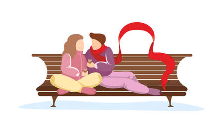 Couple in love sits on park bench. Young loving girl hugs guy in long red scarf. Man and woman romantic relationship vector isolated illustration