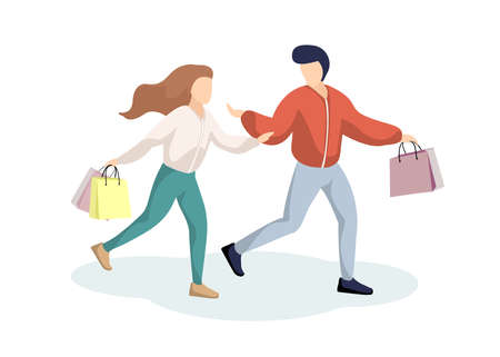 Young couple guy and girl have fun running in supermarket with shopping bags. Happy man and woman in store with purchases. Holiday sales shop retail consumer concept vector isolated illustration