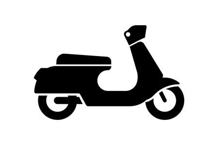 Retro vintage scooter black icon isolated on white bacground. Traditional recreational motorcycle transport road sign. Moped delivery symbol vector  illustration