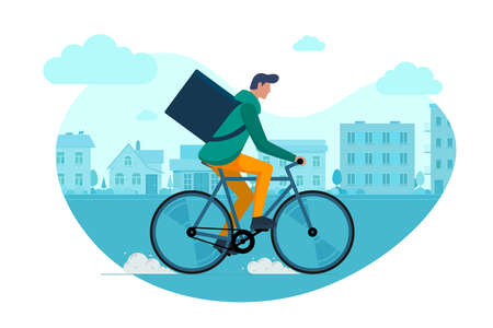 Young male courier with backpack box riding bicycle and carries goods and food package on city street. Young guy fast cycling eco delivery order service. Vector eps illustration