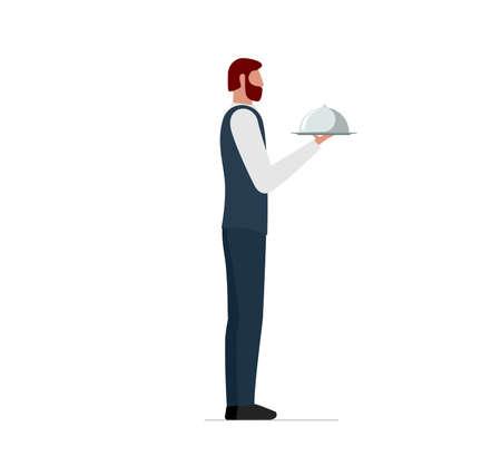 Elegant male waiter holding serving platter with dome. Restaurant or cafe high quality service concept. Vector flat illustration 矢量图像