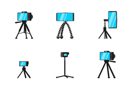 Tripod and monopod for smartphone and camera set. Blogger selfie online streaming video professional stable photo devices. Videographer and photographer stand equipment vector isolated illustration