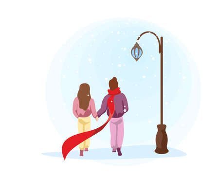 Couple in love girlfriend and boyfriend walk in park near streetlight. Male and female outdoors under winter snow. Human romantic relationship concept vector eps illustration