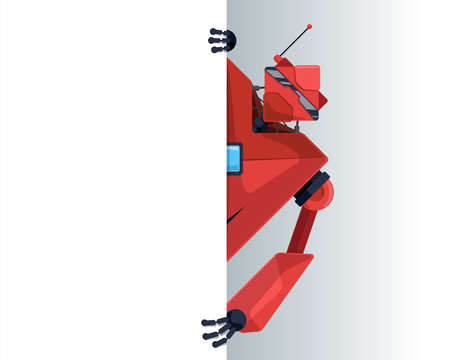 Cute robot peeks look out behind corner blank poster space for text. Cyborg character holding empty white board for presentation. Robotic information banner mockup interface design vector illustration