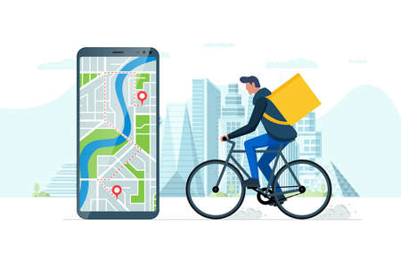 Fast bicycle delivery ordering service app concept. Smartphone with geotag gps location pin on city street and ecological express food shipping courier with backpack. Online application vector