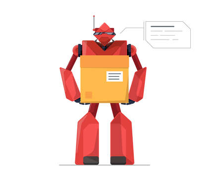 Robotic courier holding cardboard parcel box future technology. Robot delivery service or warehouse work concept. Automated AI smart droid logistic vector flat isolated  illustration