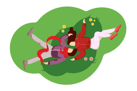 Guy kissing girl on grass top view. Young couple male and female in love lies and hugs tenderly. Man and woman gentle relationship relaxing outdoor on spring lawn. Spend time together illustration