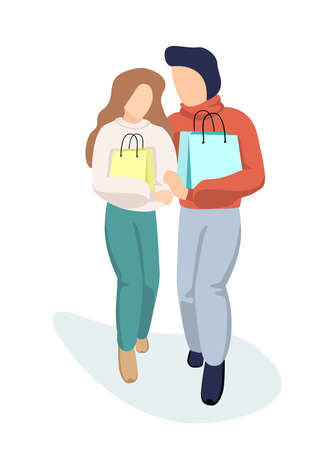 Young couple in love guy and girl walk together from store holding shopping bag in hand and cuddling. Man hugs woman in supermarket with purchases.