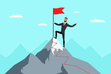 Successful businessman with red flag on mountain peak. Business man climbing up on top career ladder. Male goal achievement and leadership concept. Symbol of success and victory enjoy illustration