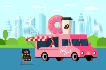 Fast food pink truck with baker outdoor city park. Donut and coffee paper cup on van roof. Doughnut with hot beverage car delivery service or fair on street catering wheels vector illustration Ilustración de vector