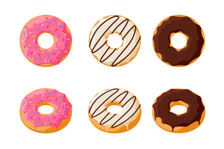Sweet colorful tasty donut set isolated on white background. Glazed doughnuts top view and 3d collection for cafe decoration or menu design. Pink and chocolate bakery. Vector flat illustration
