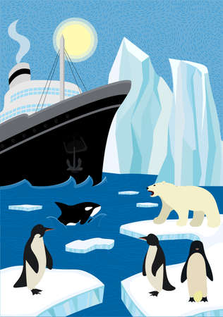 Winter hand-drawn poster north shipping in wildlife. Sail icebreaker and iceberg in northern ocean. Polar bear and penguins sitting on ice floe, killer whale emerge from wave. Arctic and antarctic