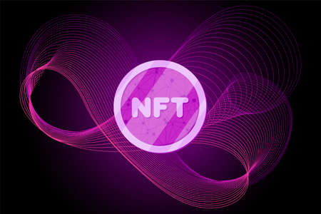 NFT non fungible token on abstract linear striped lilac purple background. Online money for buy exclusive art poster. Pay for unique collectibles in games banner. Blockchain technology crypto coin Vecteurs
