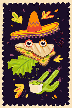 Mexican fast food quesadilla hand-drawn poster for mexico cuisine restaurant menu or eatery advertising. Traditional Latin American dish vector banner and sombrero. Wheat or corn tortilla with cheese Vector Illustration