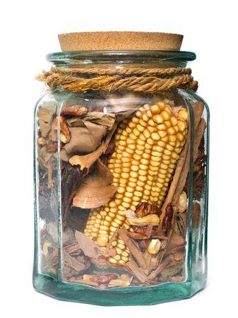 dried vegetables: Pel�culas en frasco de vidrio con legumbres secas arom�ticas Foto de archivo