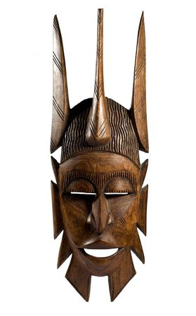 arte africano: Hecho a mano m�scara africana antigua Foto de archivo