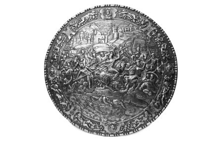 Ancient warrior shield with little shadow on the white photo