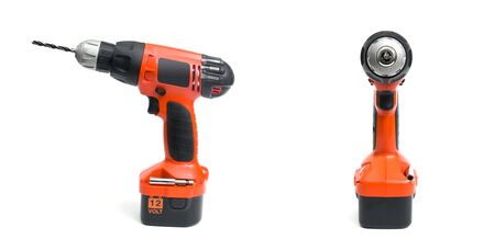 Cordless drill on the white background photo