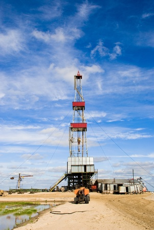 oilwell: Oil drilling rig in East Siberia.