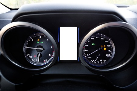 close uo: Modern style SUV dashboard. Close uo view.