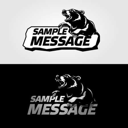 mascot as a snarling bear  Black and inverse version