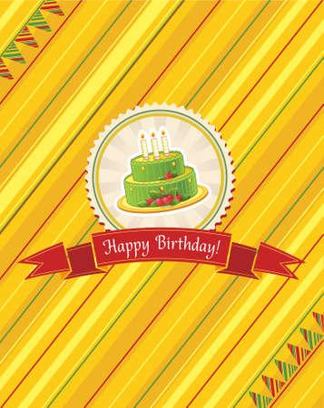 greeting card with birthday cake Иллюстрация