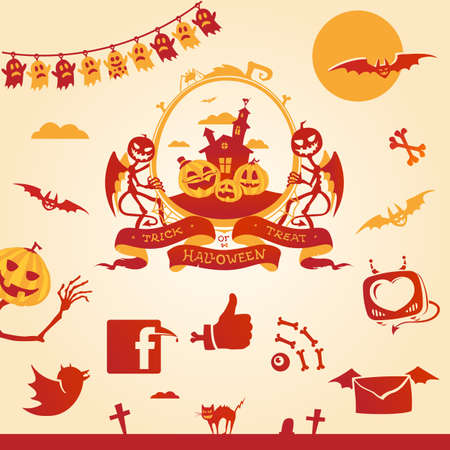 Halloween theme  Vector elements and social icons